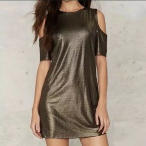 NWT Nasty Gal Gold Cold Shoulder Party Dress